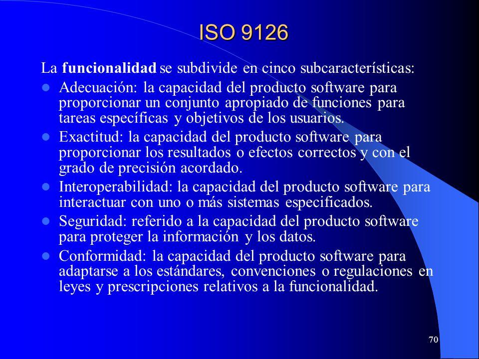 70 La funcionalidad se subdivide en cinco subcaracterísticas: Adecuación: la capacidad del producto software para proporcionar un conjunto apropiado de funciones para tareas específicas y objetivos de los usuarios.