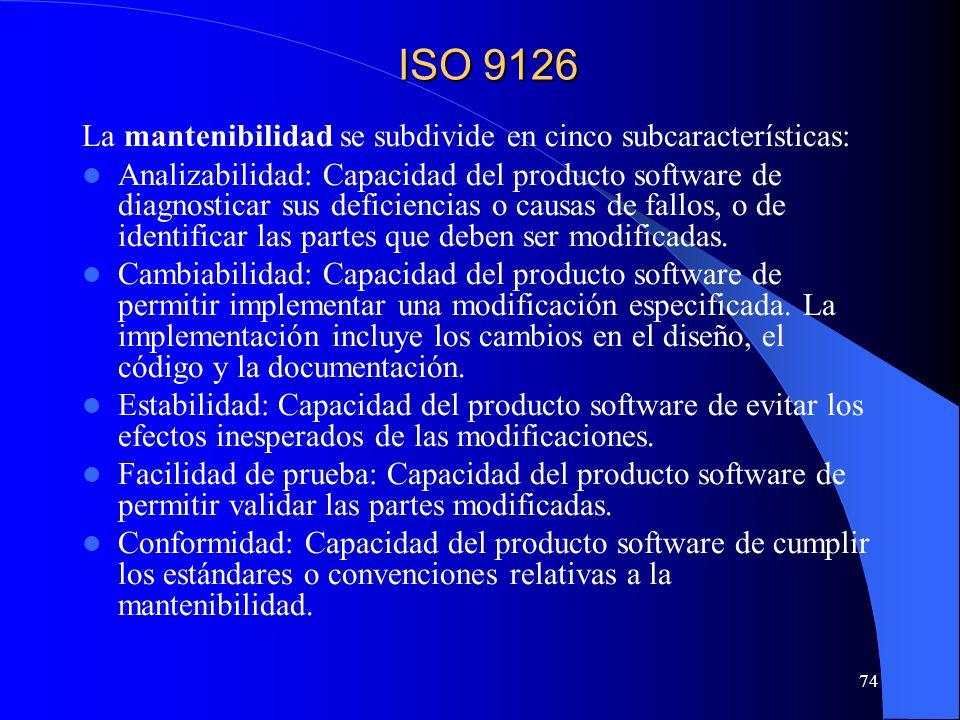 74 La mantenibilidad se subdivide en cinco subcaracterísticas: Analizabilidad: Capacidad del producto software de diagnosticar sus deficiencias o causas de fallos, o de identificar las partes que deben ser modificadas.