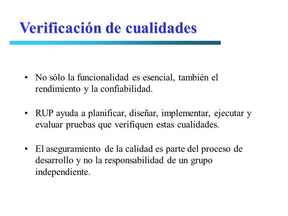 Verificación de cualidades No sólo la funcionalidad es esencial, también el rendimiento y la confiabilidad. RUP ayuda a planificar, diseñar, implement