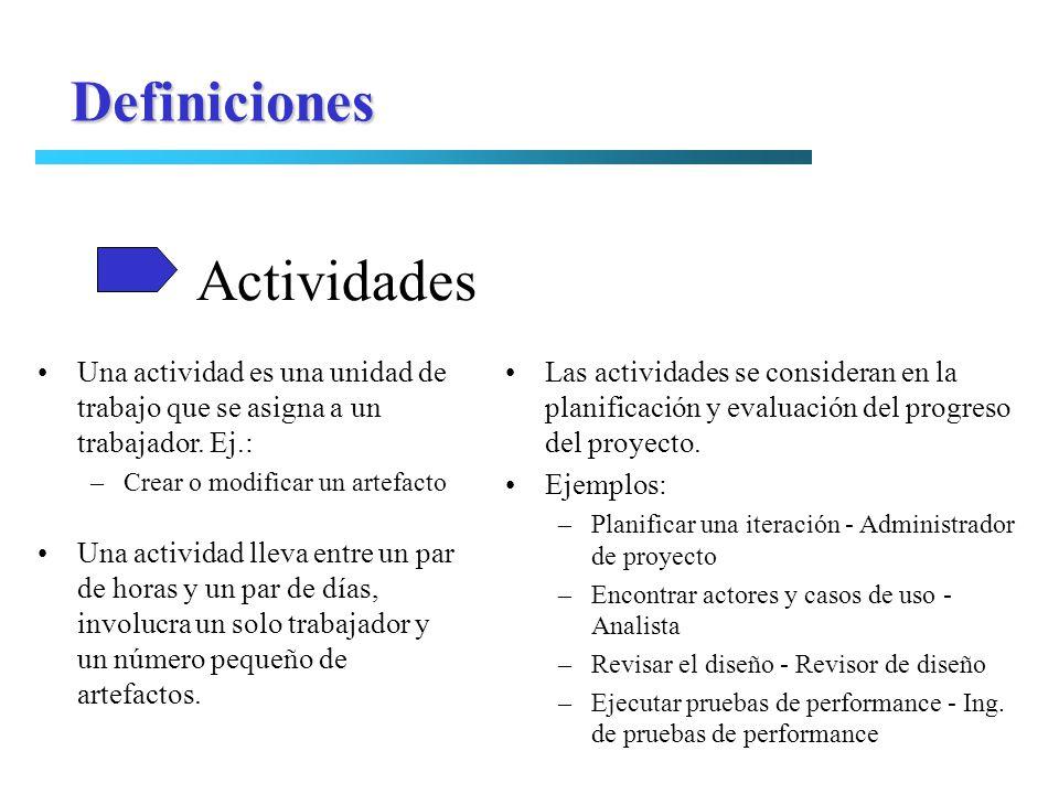 Actividades Definiciones Una actividad es una unidad de trabajo que se asigna a un trabajador. Ej.: –Crear o modificar un artefacto Una actividad llev