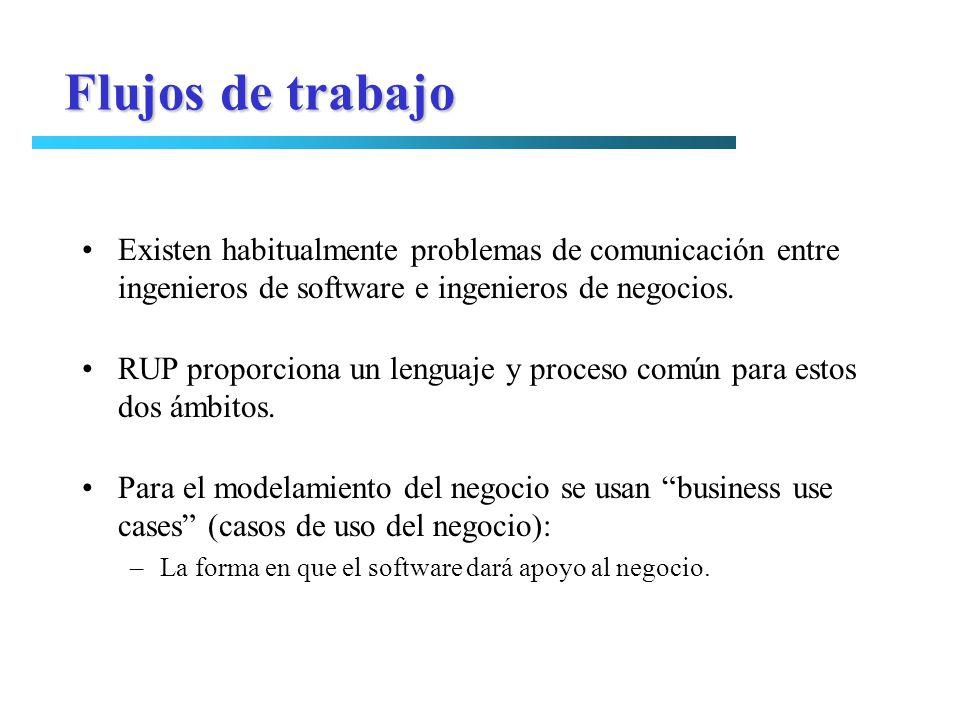 Flujos de trabajo Existen habitualmente problemas de comunicación entre ingenieros de software e ingenieros de negocios. RUP proporciona un lenguaje y