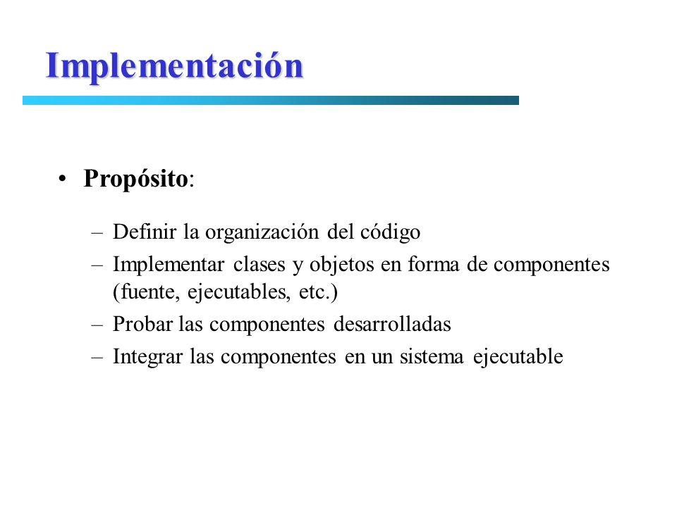 Propósito: –Definir la organización del código –Implementar clases y objetos en forma de componentes (fuente, ejecutables, etc.) –Probar las component