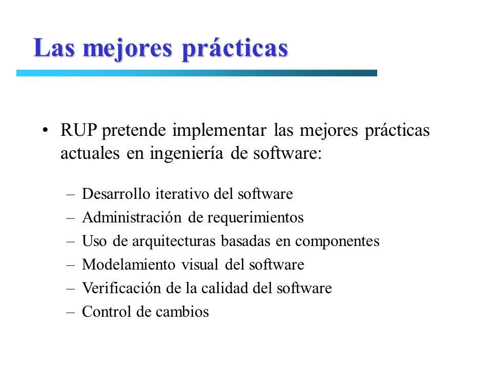 Las mejores prácticas RUP pretende implementar las mejores prácticas actuales en ingeniería de software: –Desarrollo iterativo del software –Administr