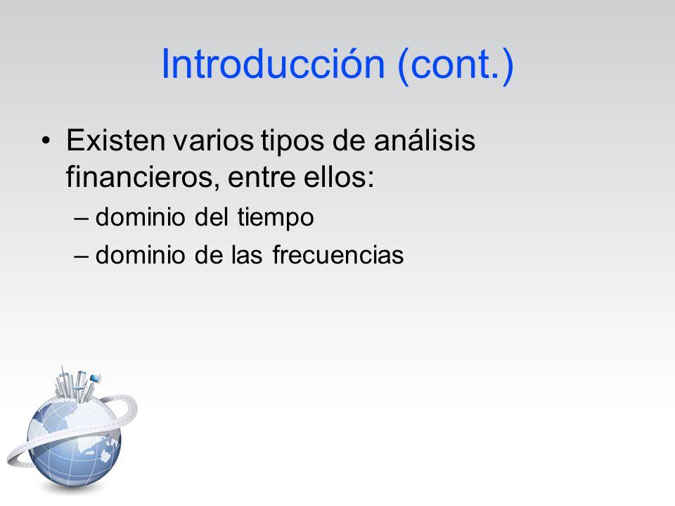 Introducción (cont.) Existen varios tipos de análisis financieros, entre ellos: –dominio del tiempo –dominio de las frecuencias