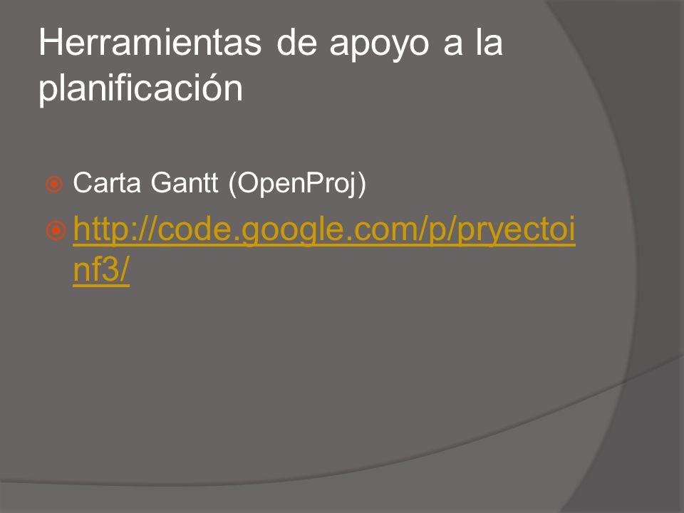 Herramientas de apoyo a la planificación Carta Gantt (OpenProj) http://code.google.com/p/pryectoi nf3/ http://code.google.com/p/pryectoi nf3/