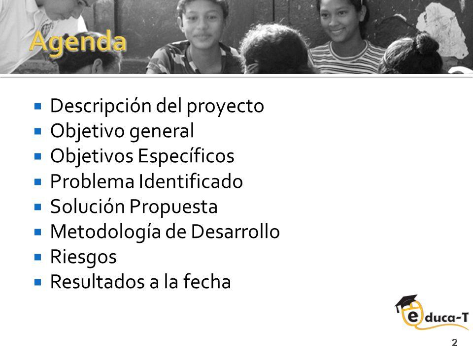 2 Descripción del proyecto Objetivo general Objetivos Específicos Problema Identificado Solución Propuesta Metodología de Desarrollo Riesgos Resultados a la fecha