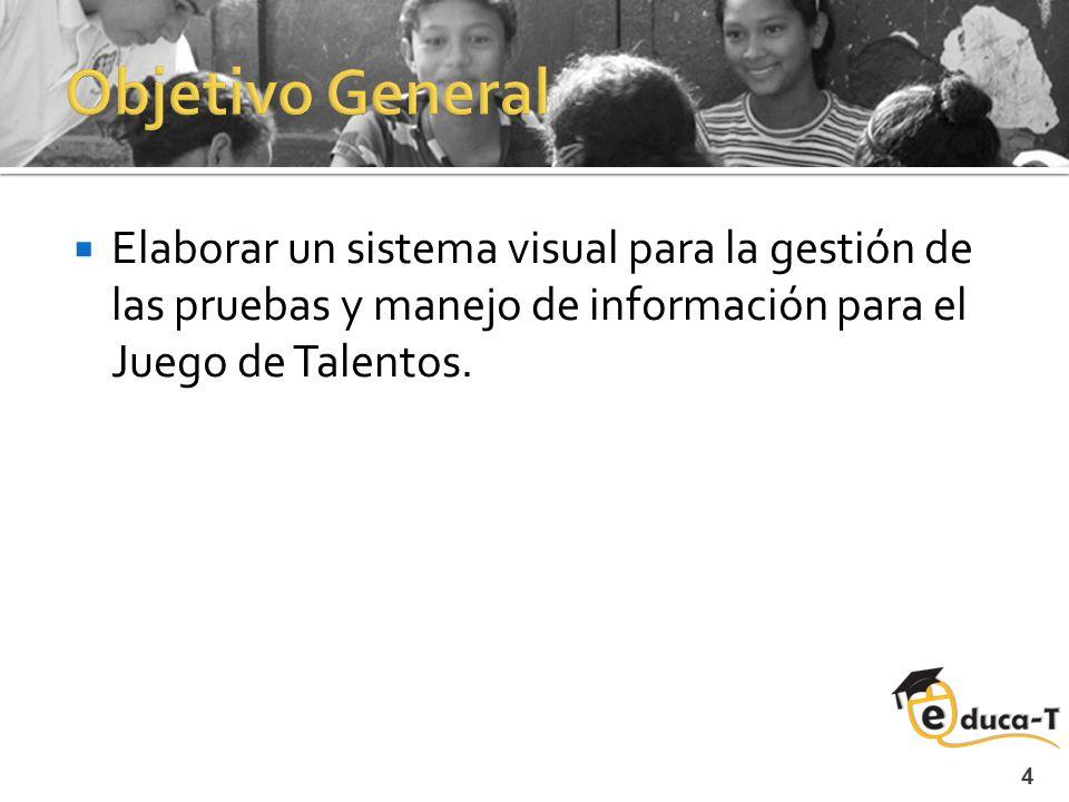 4 Elaborar un sistema visual para la gestión de las pruebas y manejo de información para el Juego de Talentos.