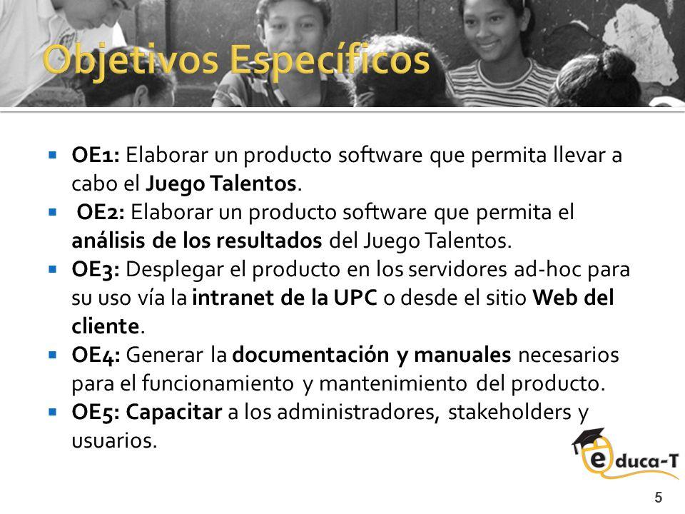 5 OE1: Elaborar un producto software que permita llevar a cabo el Juego Talentos.