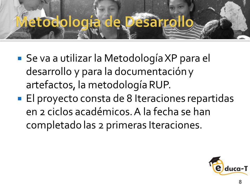 8 Se va a utilizar la Metodología XP para el desarrollo y para la documentación y artefactos, la metodología RUP.