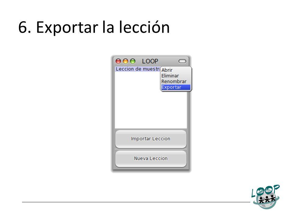 6. Exportar la lección