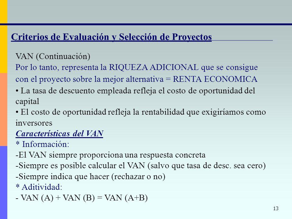 13 Criterios de Evaluación y Selección de Proyectos VAN (Continuación) Por lo tanto, representa la RIQUEZA ADICIONAL que se consigue con el proyecto s