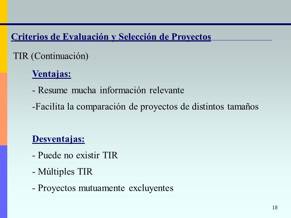 18 Criterios de Evaluación y Selección de Proyectos TIR (Continuación) Ventajas: - Resume mucha información relevante -Facilita la comparación de proyectos de distintos tamaños Desventajas: - Puede no existir TIR - Múltiples TIR - Proyectos mutuamente excluyentes