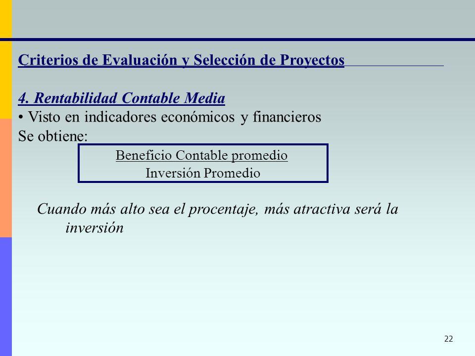 22 Criterios de Evaluación y Selección de Proyectos 4. Rentabilidad Contable Media Visto en indicadores económicos y financieros Se obtiene: Beneficio