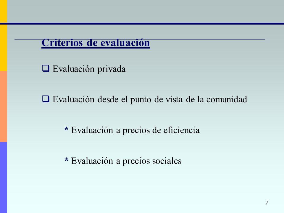 7 Criterios de evaluación Evaluación privada Evaluación desde el punto de vista de la comunidad * Evaluación a precios de eficiencia * Evaluación a precios sociales