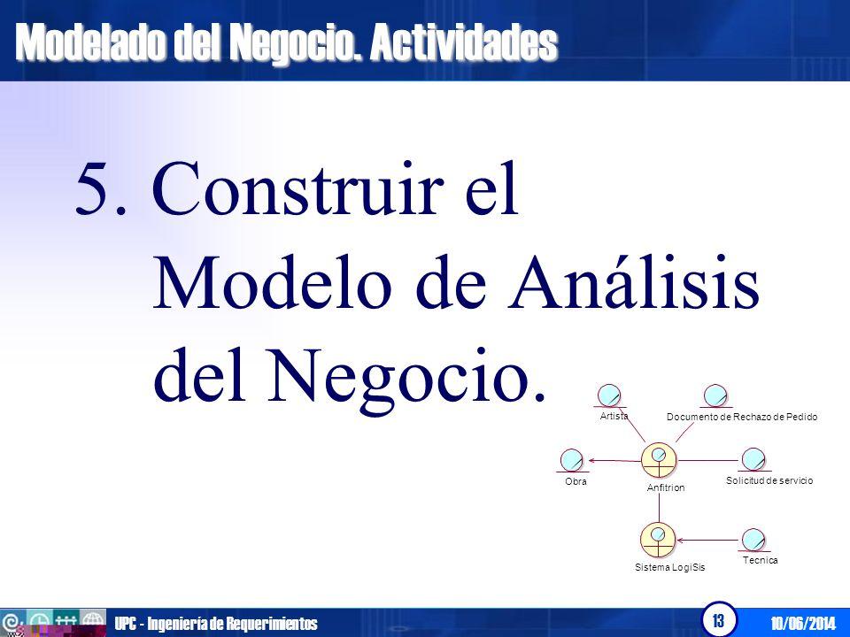 10/06/2014UPC - Ingeniería de Requerimientos 13 Modelado del Negocio. Actividades 5. Construir el Modelo de Análisis del Negocio. Tecnica Artista Obra