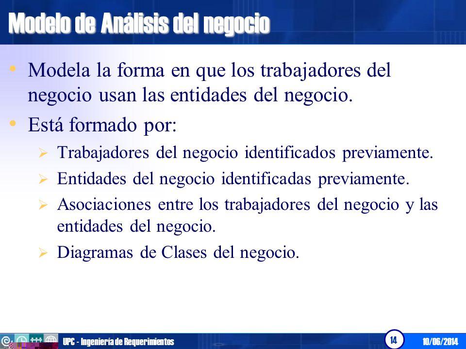 10/06/2014UPC - Ingeniería de Requerimientos 14 Modelo de Análisis del negocio Modela la forma en que los trabajadores del negocio usan las entidades