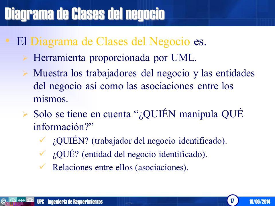 10/06/2014UPC - Ingeniería de Requerimientos 17 Diagrama de Clases del negocio El Diagrama de Clases del Negocio es. Herramienta proporcionada por UML