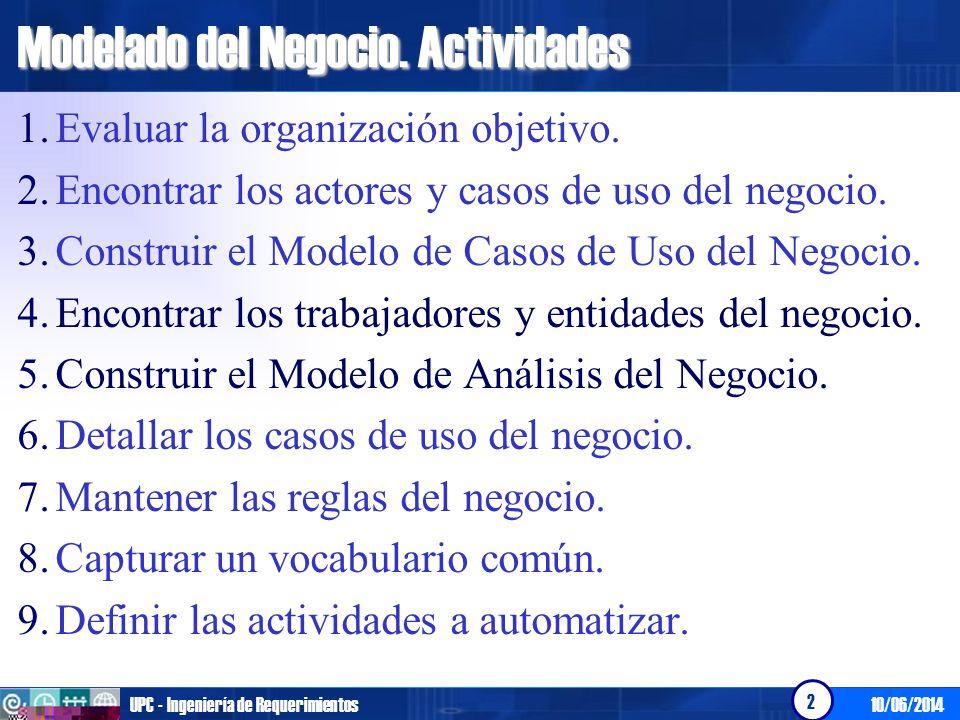 10/06/2014UPC - Ingeniería de Requerimientos 2 Modelado del Negocio. Actividades 1.Evaluar la organización objetivo. 2.Encontrar los actores y casos d