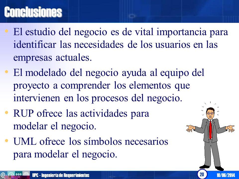 10/06/2014UPC - Ingeniería de Requerimientos 20Conclusiones El estudio del negocio es de vital importancia para identificar las necesidades de los usu