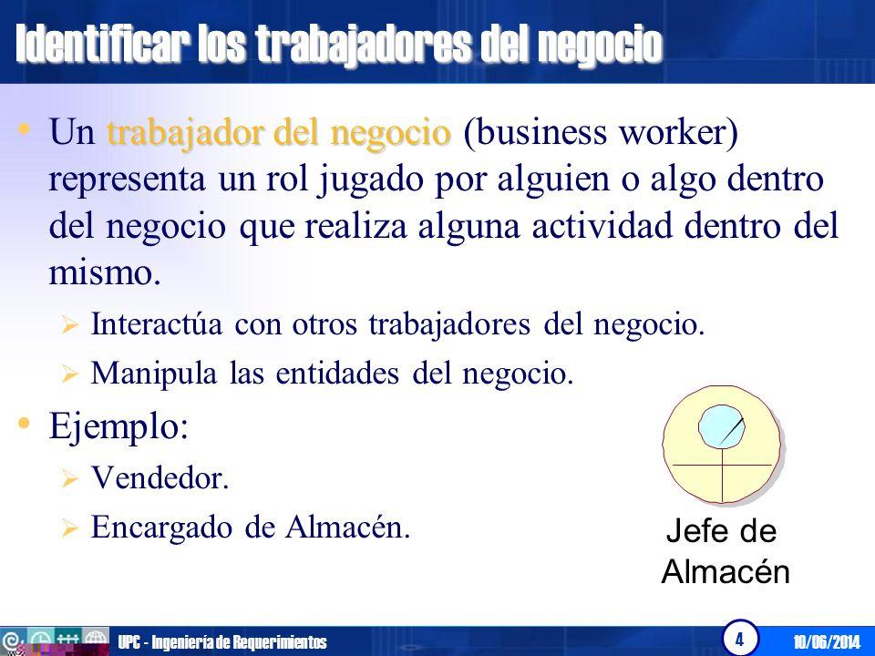 10/06/2014UPC - Ingeniería de Requerimientos 4 Identificar los trabajadores del negocio trabajador del negocio Un trabajador del negocio (business wor