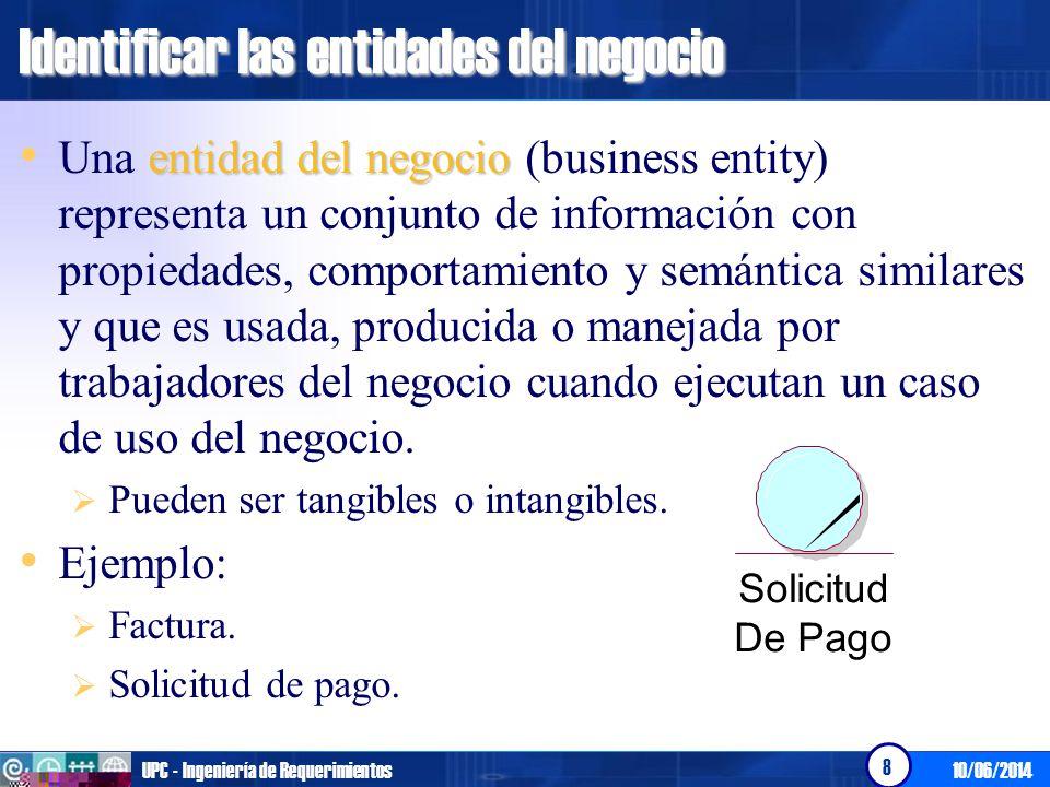 10/06/2014UPC - Ingeniería de Requerimientos 8 Identificar las entidades del negocio entidad del negocio Una entidad del negocio (business entity) rep