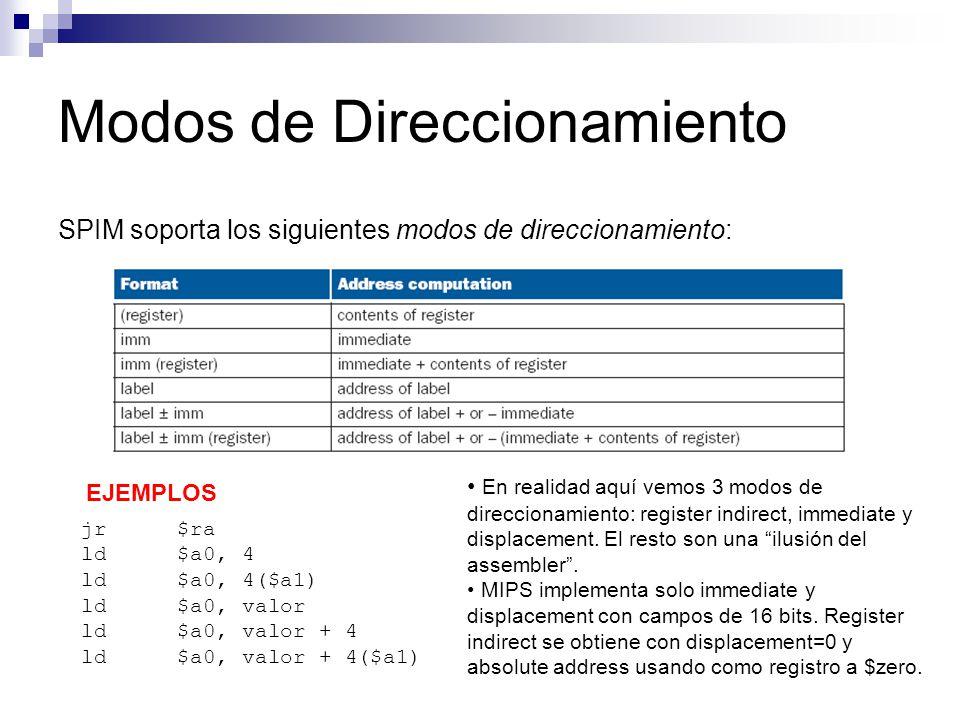 Modos de Direccionamiento SPIM soporta los siguientes modos de direccionamiento: jr$ra ld$a0, 4 ld$a0, 4($a1) ld$a0, valor ld$a0, valor + 4 ld$a0, val