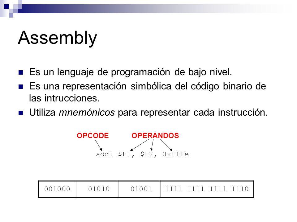 Assembly Es un lenguaje de programación de bajo nivel. Es una representación simbólica del código binario de las intrucciones. Utiliza mnemónicos para