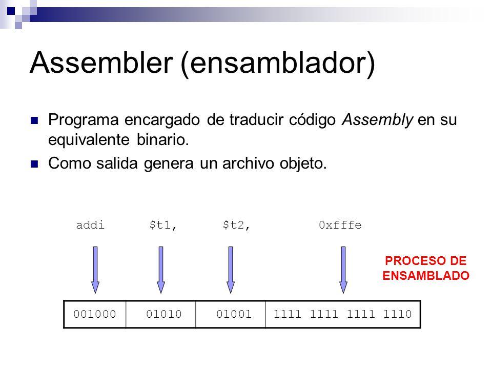 Assembler (ensamblador) Programa encargado de traducir código Assembly en su equivalente binario. Como salida genera un archivo objeto. 001000 01010 0