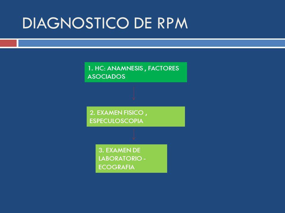 DIAGNOSTICO DE RPM 1.HC: ANAMNESIS, FACTORES ASOCIADOS 2.