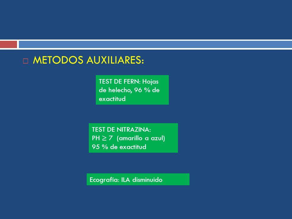 METODOS AUXILIARES: TEST DE FERN: Hojas de helecho, 96 % de exactitud TEST DE NITRAZINA: PH 7 (amarillo a azul) 95 % de exactitud Ecografía: ILA disminuido