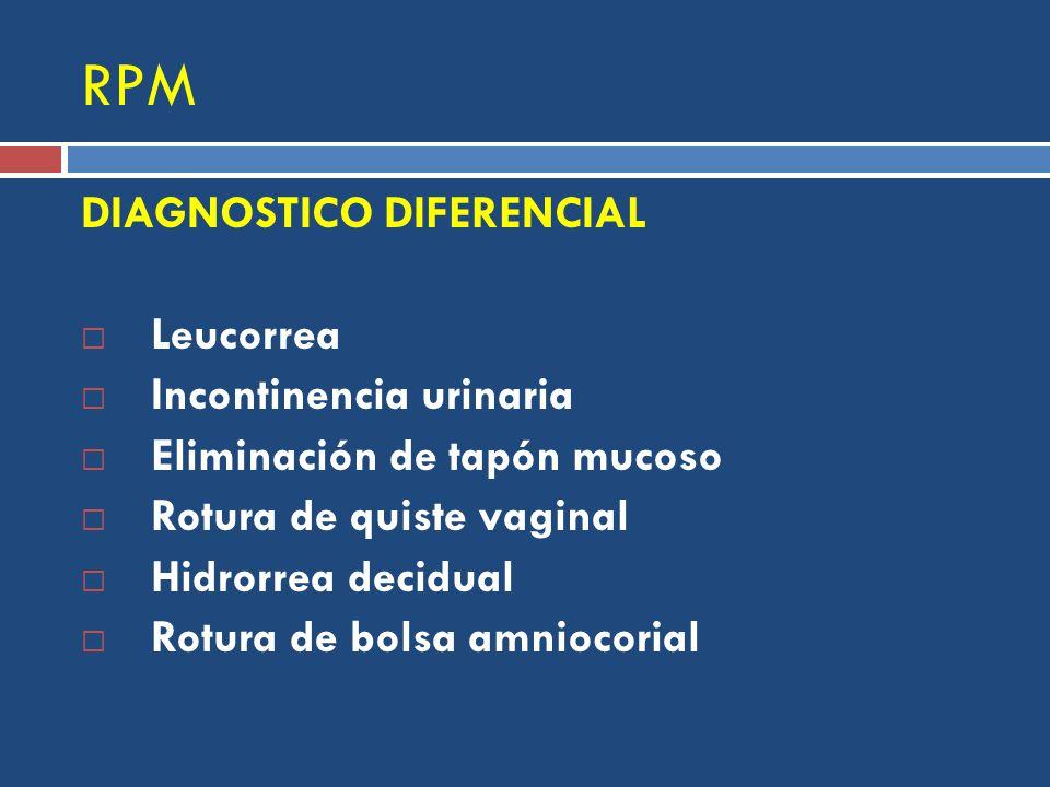 RPM DIAGNOSTICO DIFERENCIAL Leucorrea Incontinencia urinaria Eliminación de tapón mucoso Rotura de quiste vaginal Hidrorrea decidual Rotura de bolsa amniocorial