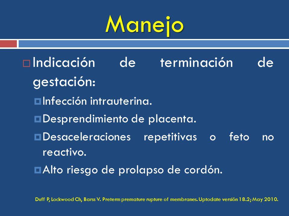 Manejo Indicación de terminación de gestación: Infección intrauterina.