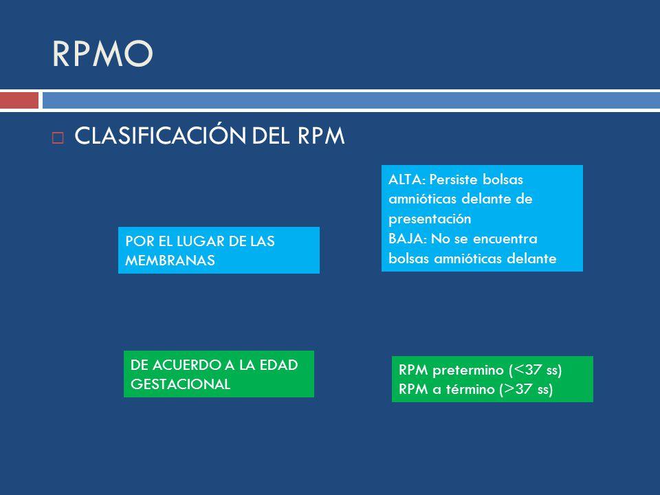 RPMO CLASIFICACIÓN DEL RPM POR EL LUGAR DE LAS MEMBRANAS ALTA: Persiste bolsas amnióticas delante de presentación BAJA: No se encuentra bolsas amnióticas delante DE ACUERDO A LA EDAD GESTACIONAL RPM pretermino (<37 ss) RPM a término (>37 ss)
