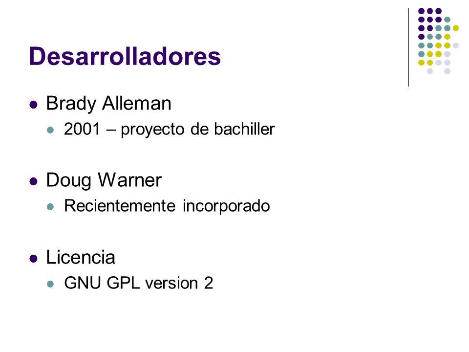 Desarrolladores Brady Alleman 2001 – proyecto de bachiller Doug Warner Recientemente incorporado Licencia GNU GPL version 2