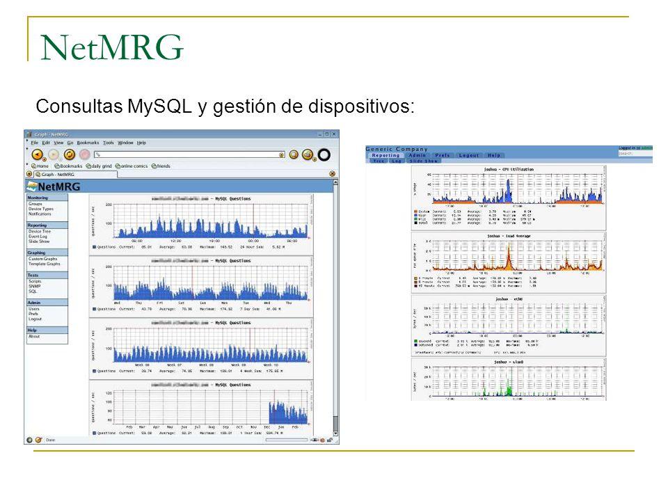 NetMRG Consultas MySQL y gestión de dispositivos: