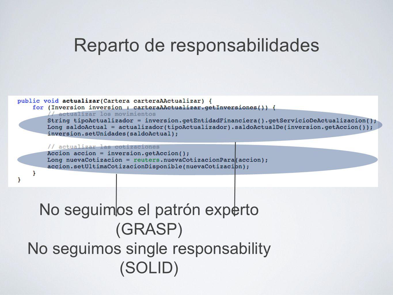 Reparto de responsabilidades No seguimos el patrón experto (GRASP) No seguimos single responsability (SOLID)