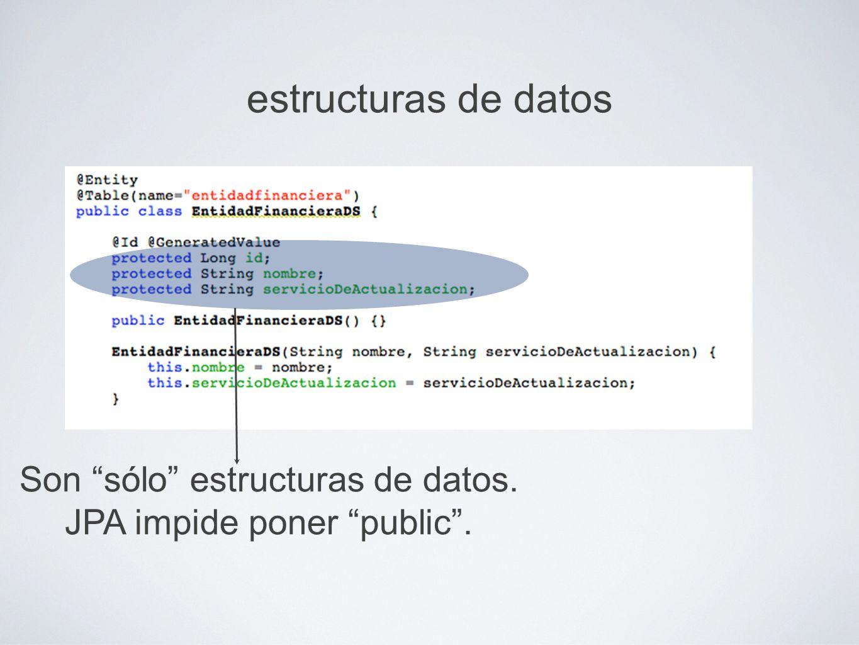 estructuras de datos Son sólo estructuras de datos. JPA impide poner public.