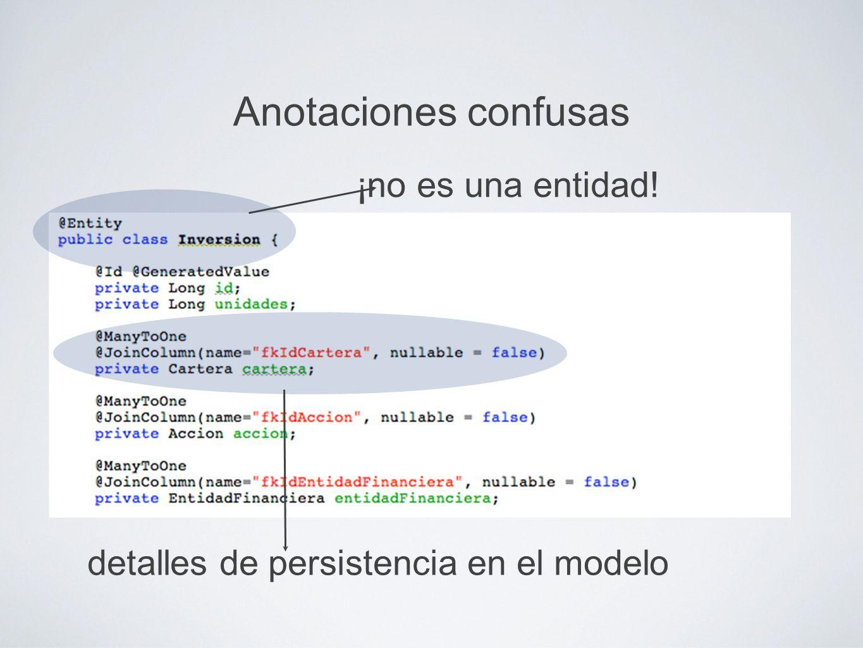 Anotaciones confusas ¡no es una entidad! detalles de persistencia en el modelo
