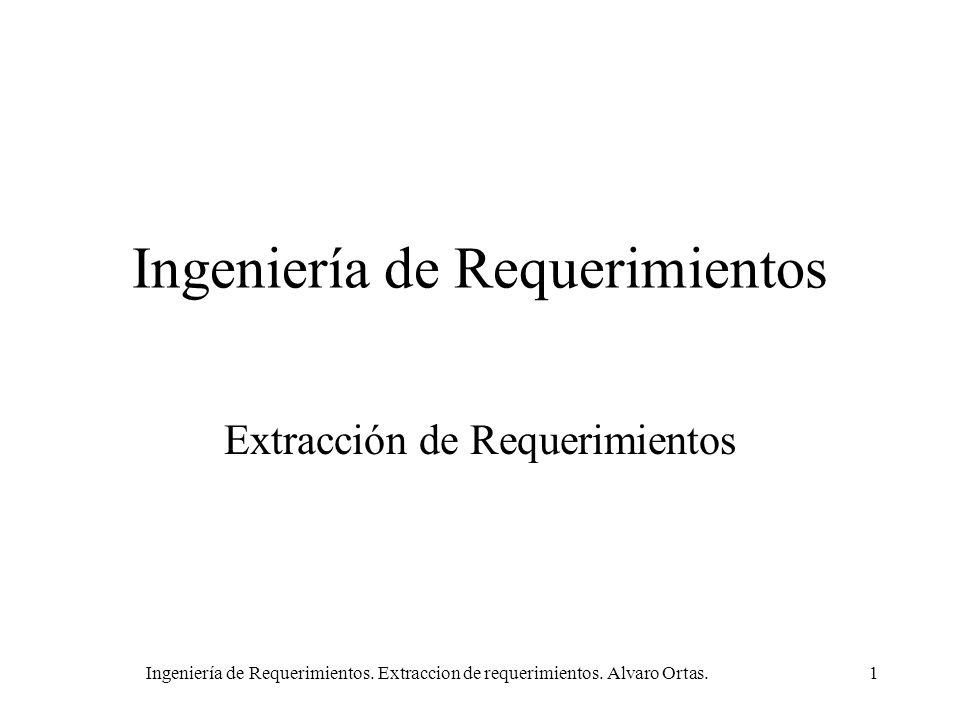 Ingeniería de Requerimientos. Extraccion de requerimientos. Alvaro Ortas.1 Ingeniería de Requerimientos Extracción de Requerimientos
