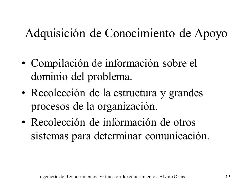 Ingeniería de Requerimientos. Extraccion de requerimientos. Alvaro Ortas.15 Adquisición de Conocimiento de Apoyo Compilación de información sobre el d
