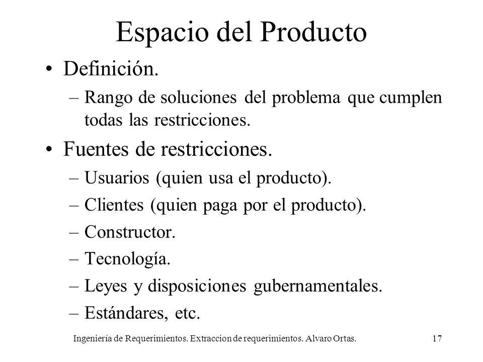 Ingeniería de Requerimientos. Extraccion de requerimientos. Alvaro Ortas.17 Espacio del Producto Definición. –Rango de soluciones del problema que cum
