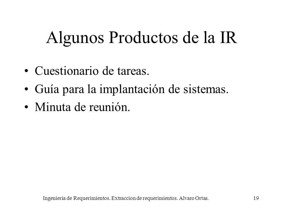 Ingeniería de Requerimientos. Extraccion de requerimientos. Alvaro Ortas.19 Algunos Productos de la IR Cuestionario de tareas. Guía para la implantaci