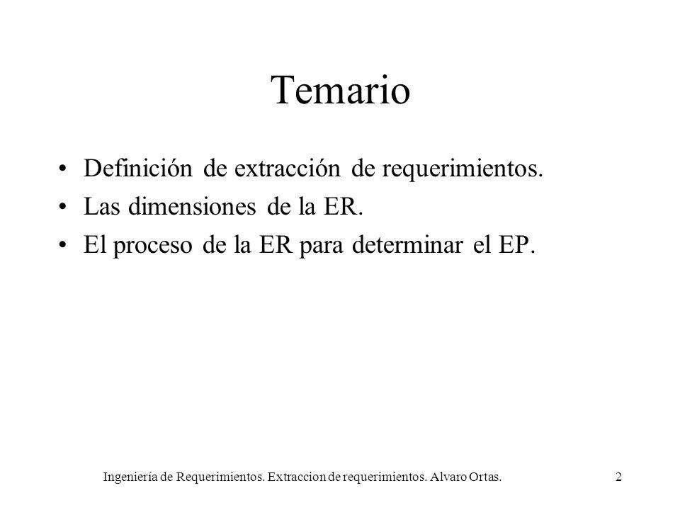 Ingeniería de Requerimientos. Extraccion de requerimientos. Alvaro Ortas.2 Temario Definición de extracción de requerimientos. Las dimensiones de la E