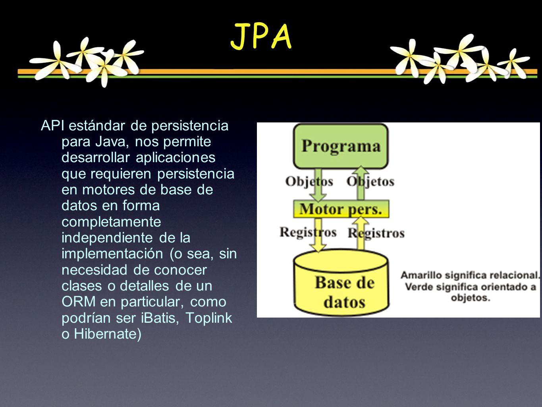 API estándar de persistencia para Java, nos permite desarrollar aplicaciones que requieren persistencia en motores de base de datos en forma completamente independiente de la implementación (o sea, sin necesidad de conocer clases o detalles de un ORM en particular, como podrían ser iBatis, Toplink o Hibernate) JPA
