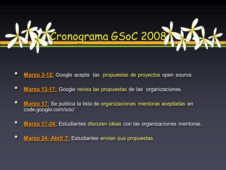 Marzo 3-12: Google acepta las propuestas de proyectos open source. Marzo 13-17: Google revisa las propuestas de las organizaciones. Marzo 17: Se publi