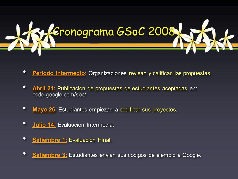 Periódo Intermedio : Organizaciones revisan y califican las propuestas. Abril 21: Publicación de propuestas de estudiantes aceptadas en: code.google.c