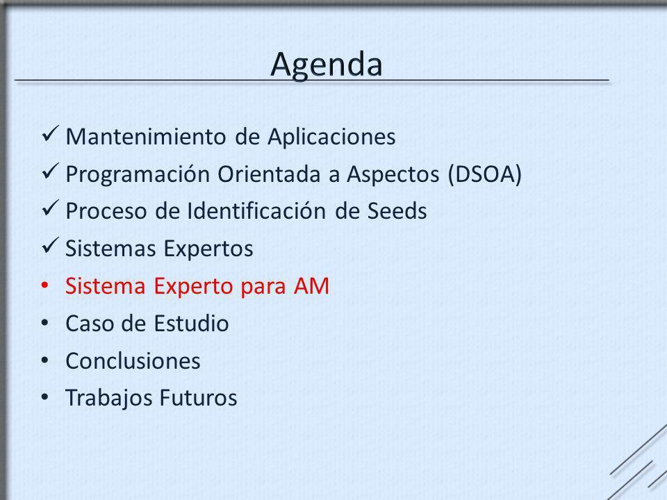 Mantenimiento de Aplicaciones Programación Orientada a Aspectos (DSOA) Proceso de Identificación de Seeds Sistemas Expertos Sistema Experto para AM Ca
