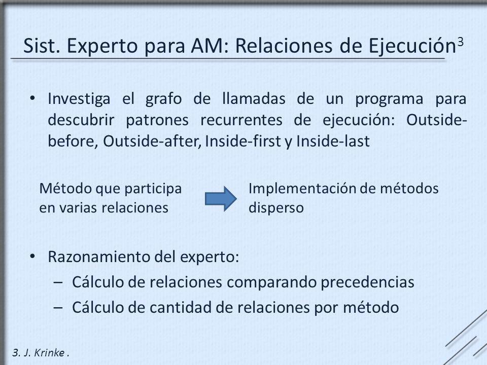 Sist. Experto para AM: Relaciones de Ejecución 3 Investiga el grafo de llamadas de un programa para descubrir patrones recurrentes de ejecución: Outsi