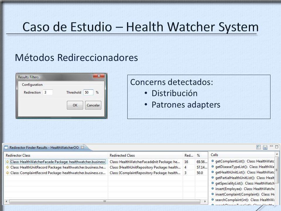 Métodos Redireccionadores Concerns detectados: Distribución Patrones adapters