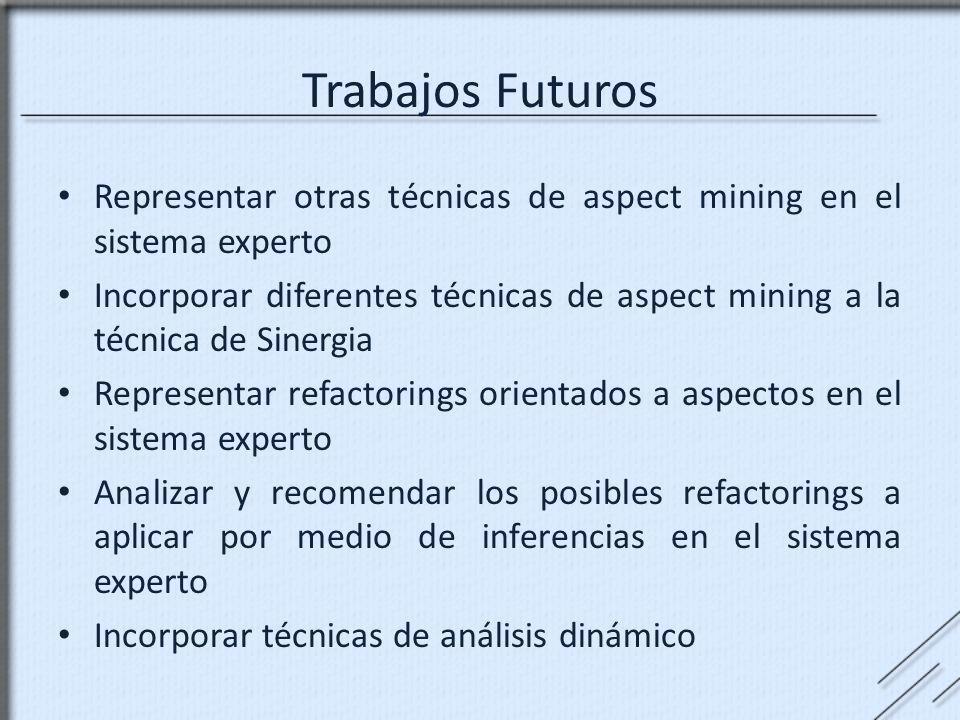 Representar otras técnicas de aspect mining en el sistema experto Incorporar diferentes técnicas de aspect mining a la técnica de Sinergia Representar